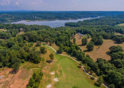 overhead shot of golf course